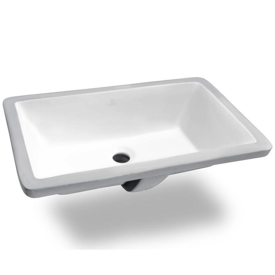 ANZZI Rhodes White Rectangular Undermount Bathroom Sink Overflow Drain