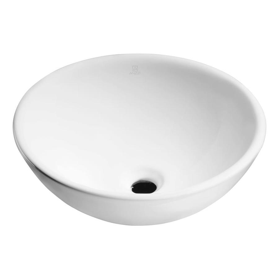 ANZZI Deux White  Round Vessel Bathroom Sink