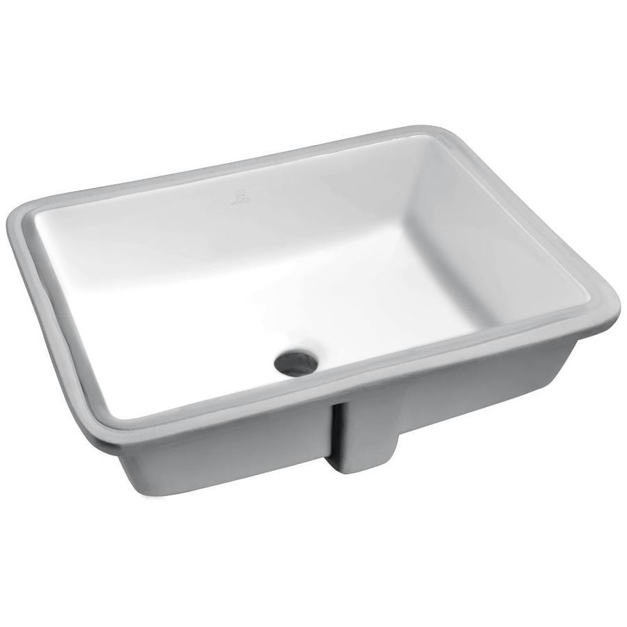 ANZZI Dahlia White Rectangular Undermount Bathroom Sink Overflow Drain
