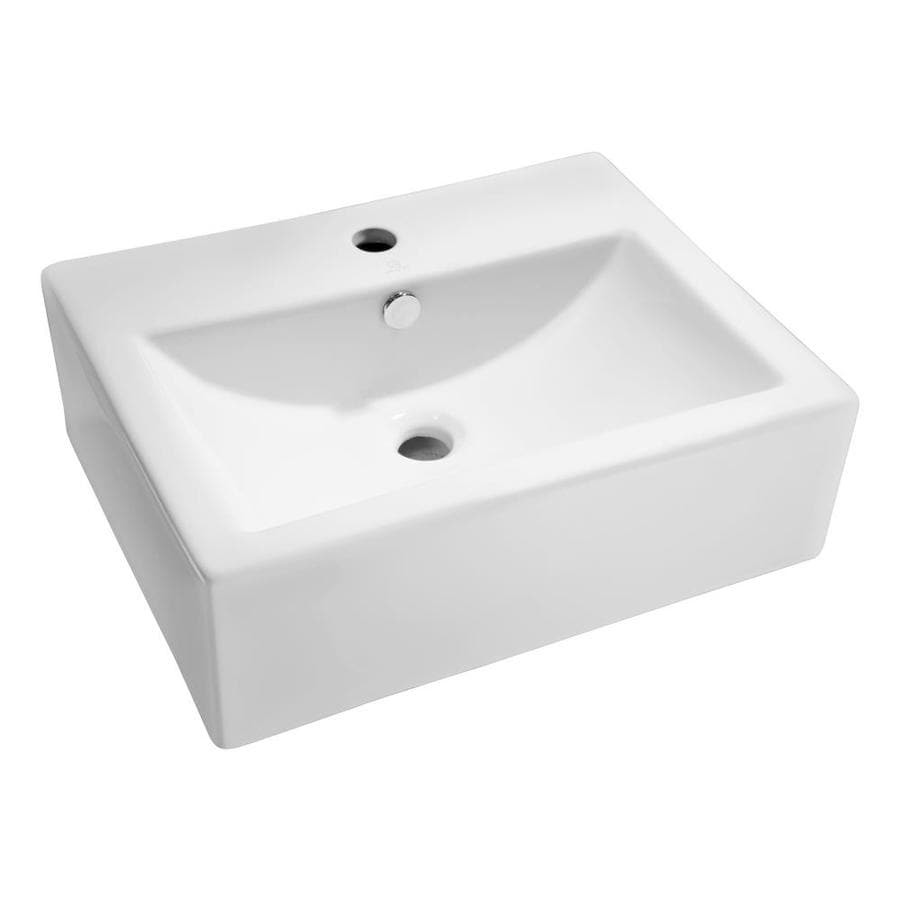 ANZZI Vitruvius White Rectangular Vessel Bathroom Sink Overflow Drain