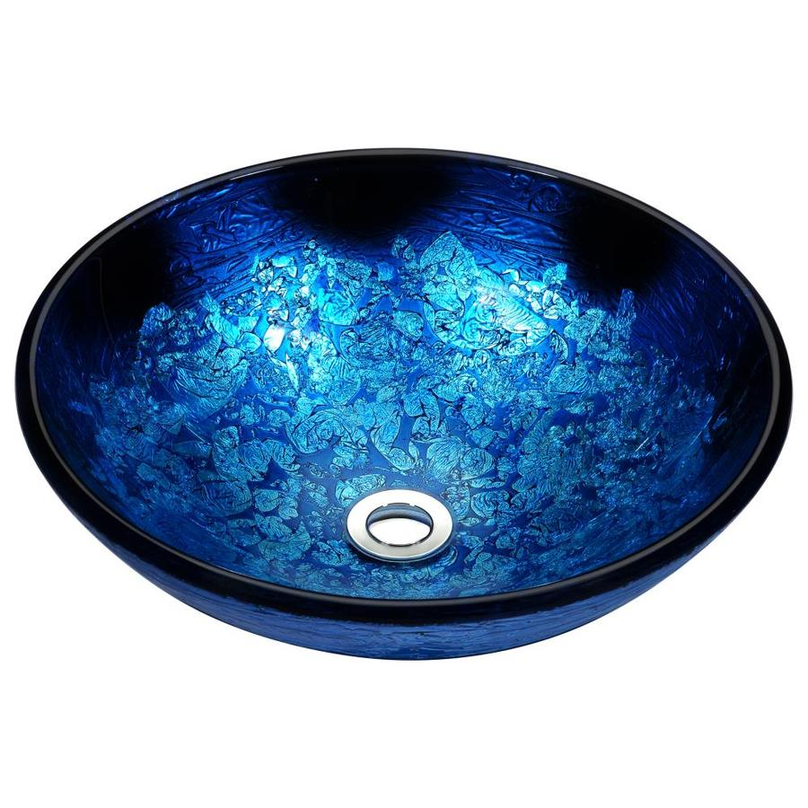 ANZZI Stellar Blue Blaze Tempered Glass Round Vessel Bathroom Sink (Drain Included)