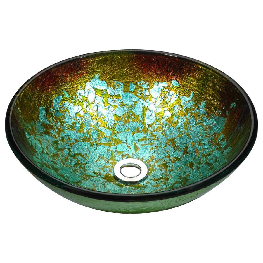 ANZZI Stellar Glacial Blaze Tempered Glass Round Vessel Bathroom Sink (Drain Included)