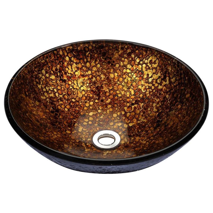 ANZZI Stellar Idol Gold Tempered Glass Round Vessel Bathroom Sink (Drain Included)