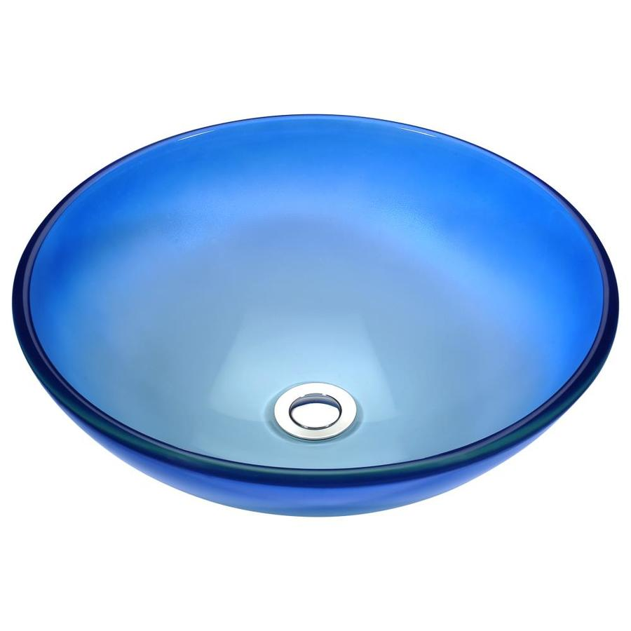 ANZZI Stellar Caribbean Shore Tempered Glass Round Vessel Bathroom Sink (Drain Included)