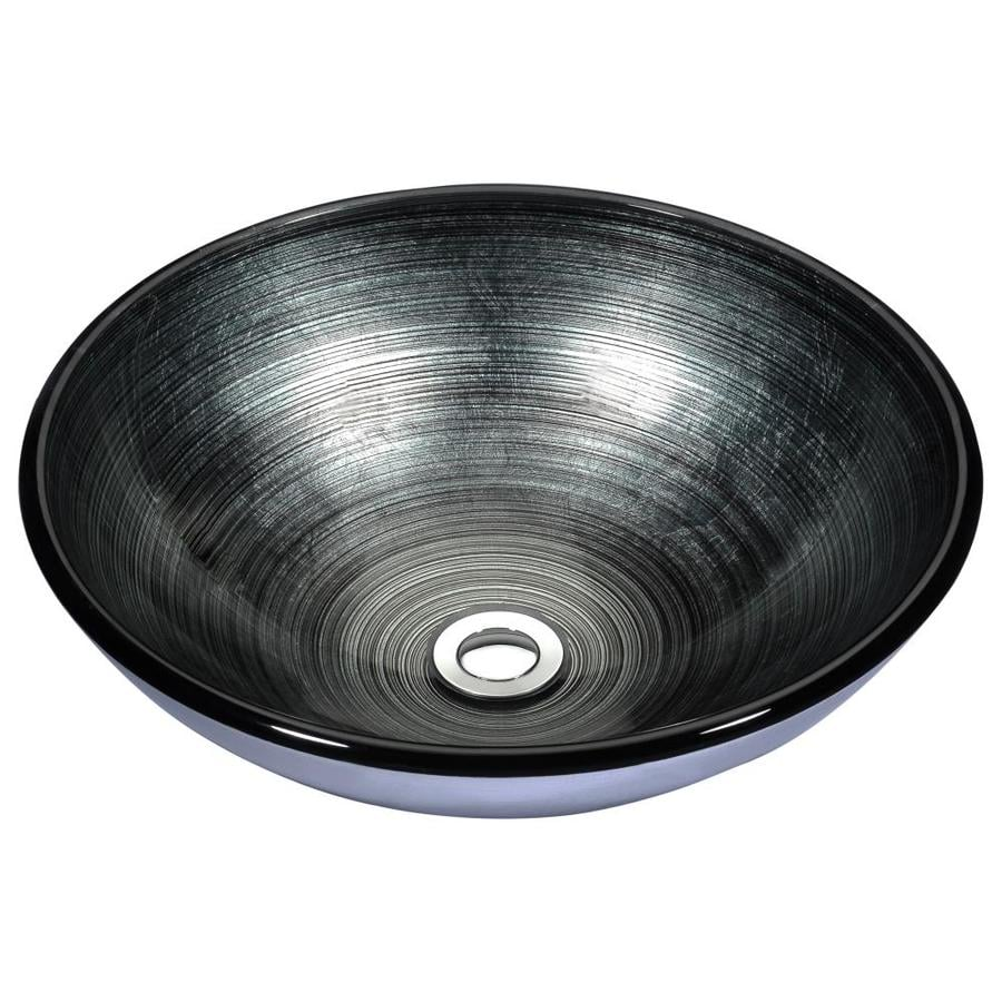 ANZZI Stellar Precious Storm Tempered Glass Round Vessel Bathroom Sink (Drain Included)