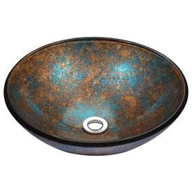 ANZZI Stellar Emerald Burst Tempered Glass Vessel Round Bathroom Sink  (Drain Included)