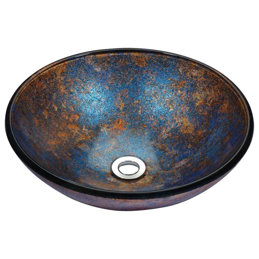 ANZZI Stellar Sapphire Burst Tempered Glass Round Vessel Bathroom Sink (Drain Included)