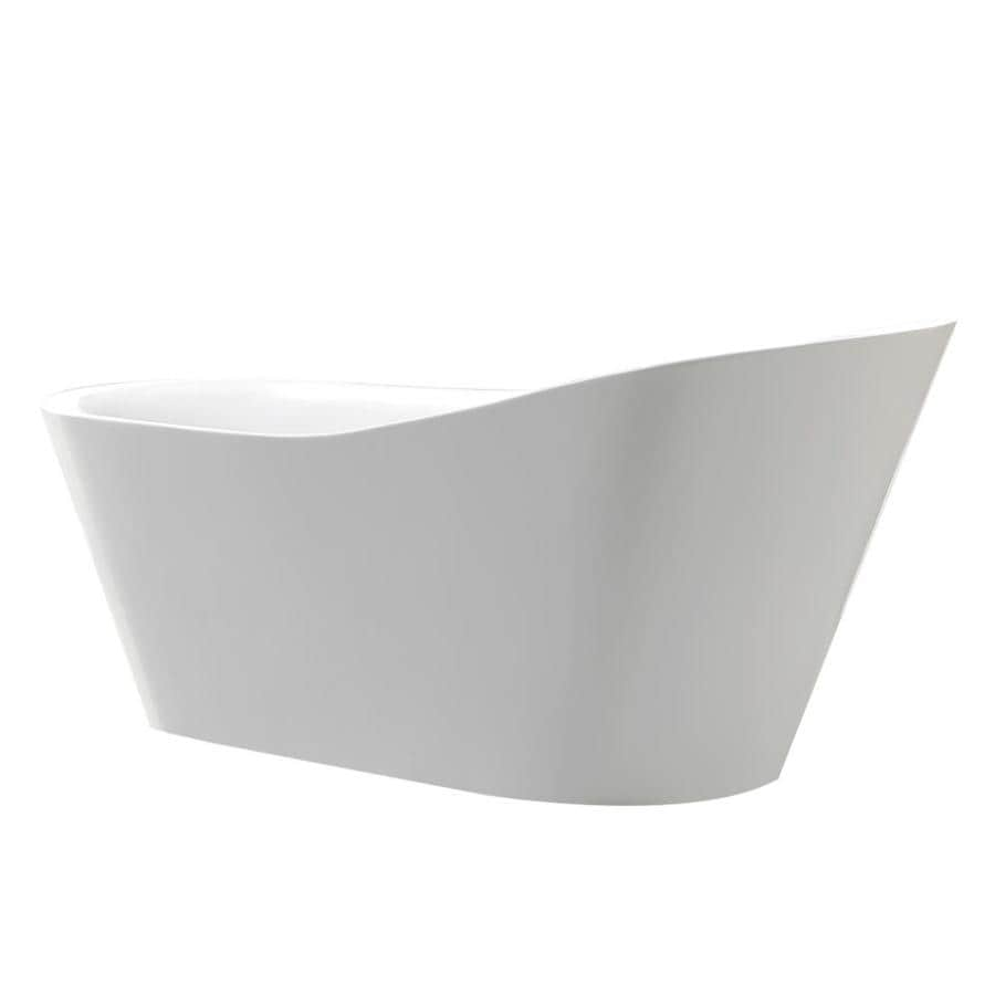 ANZZI Arges Series Glossy White Acrylic Oval Bathtub Bathtub with Center Drain (Common: 32-in x 71-in; Actual: 31.5-in x 32-in x 70.8-in)