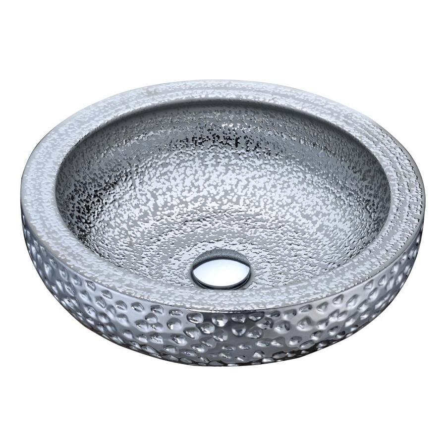 ANZZI Regalia Silver Tempered Glass Round Vessel Bathroom Sink (Drain Included)