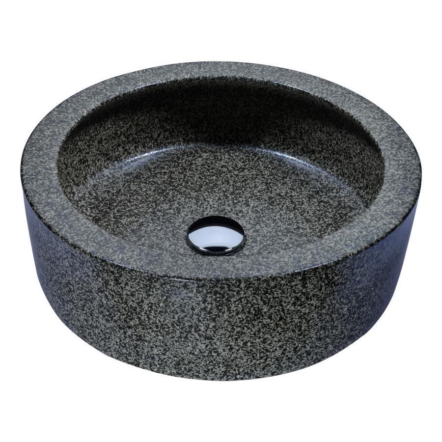 ANZZI Black Desert Multi Tempered Glass Round Vessel Bathroom Sink (Drain Included)