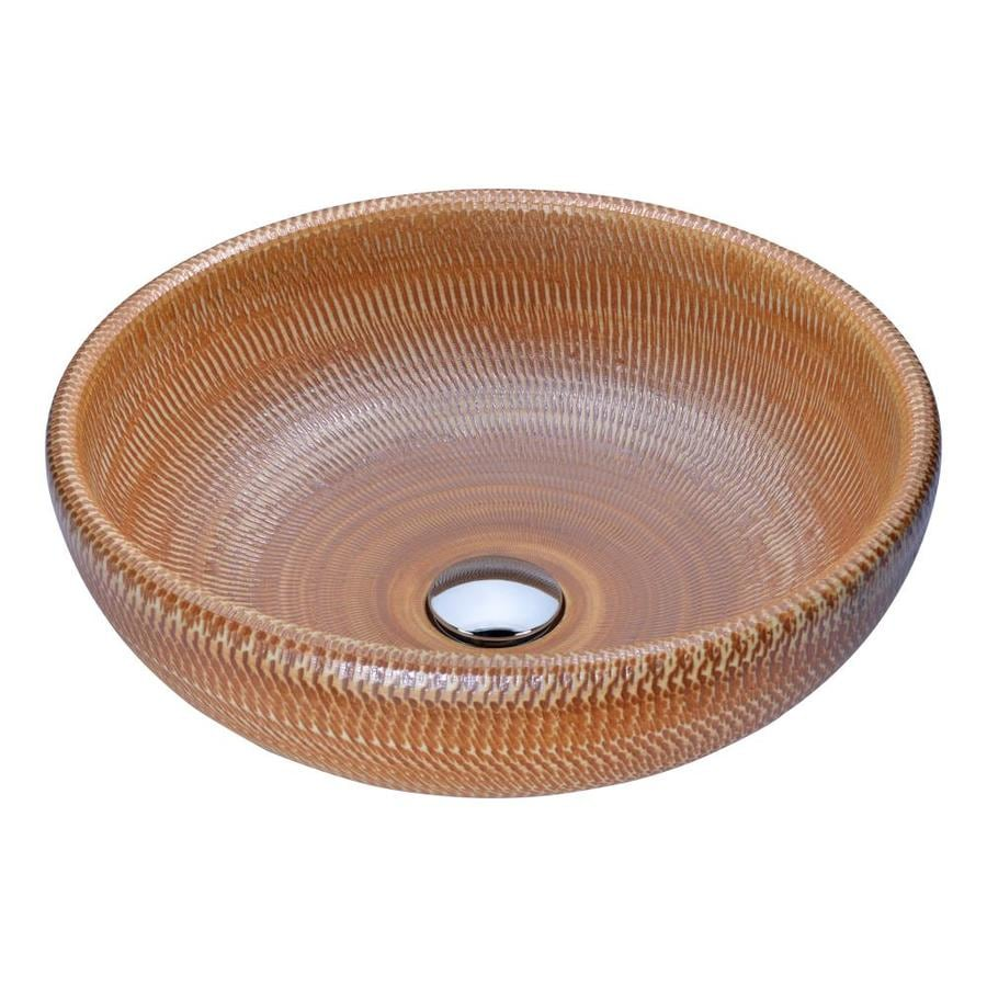 ANZZI Earthen Brown Tempered Glass Round Vessel Bathroom Sink (Drain Included)