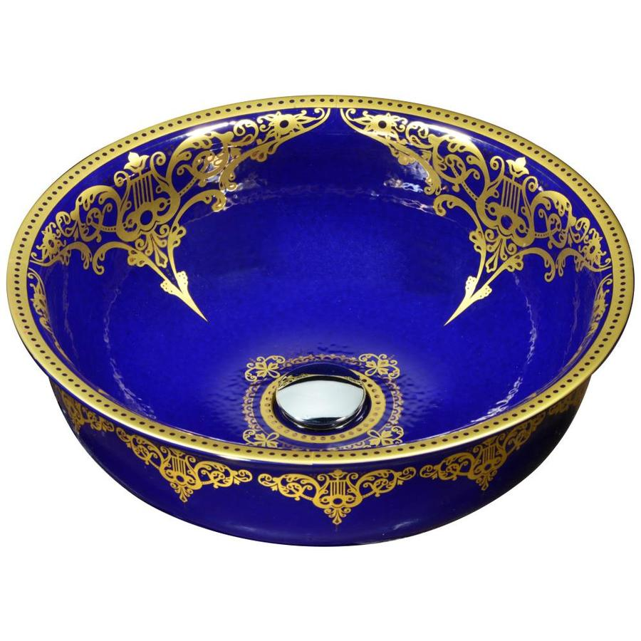 ANZZI Scepter Blue Tempered Glass Round Vessel Bathroom Sink (Drain Included)