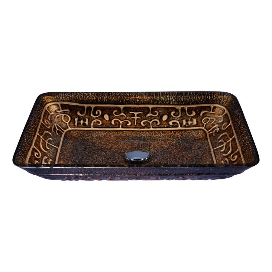 ANZZI Alto Macedonian Bronze Tempered Glass Rectangular Vessel Bathroom Sink  (Drain Included)