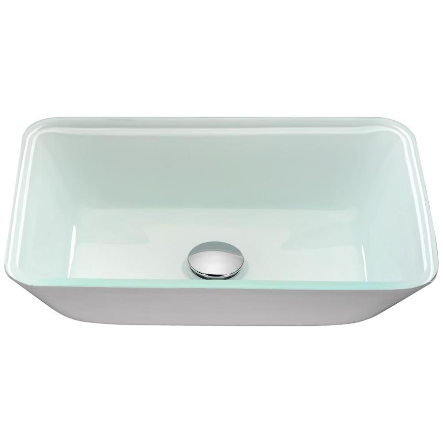 White Glass Kitchen Sink Shop anzzi broad white tempered glass rectangular vessel bathroom anzzi broad white tempered glass rectangular vessel bathroom sink drain included workwithnaturefo