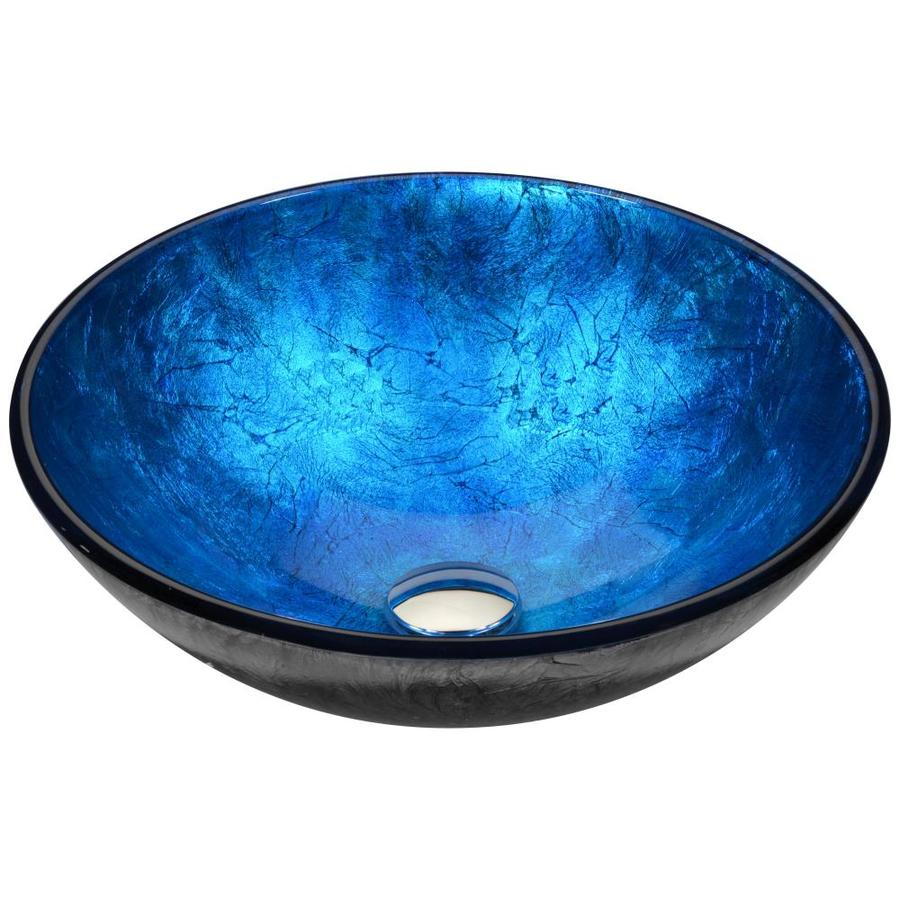 Shop Anzzi Arc Frosted Blue Tempered Glass Round Vessel