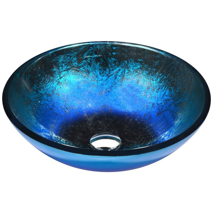 Shop ANZZI Oceana Blue Tempered Glass Round Vessel Bathroom Sink ...