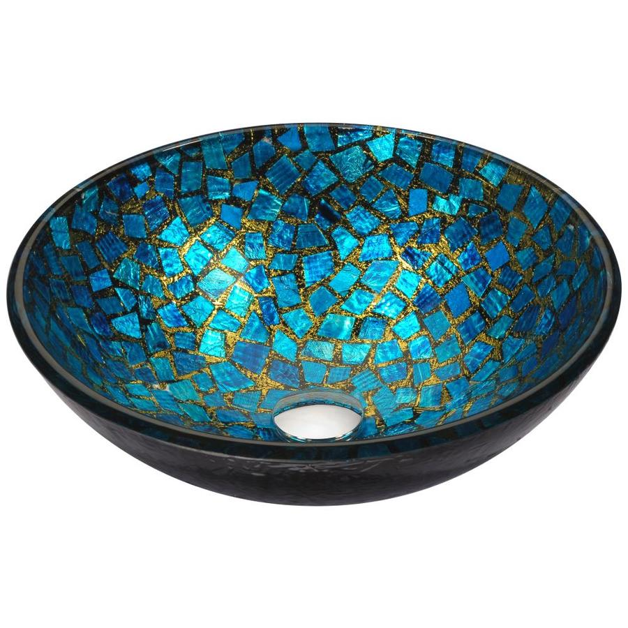 Bon ANZZI Mosaic Blue/Gold Mosaic Tempered Glass Round Vessel Bathroom Sink  (Drain Included)