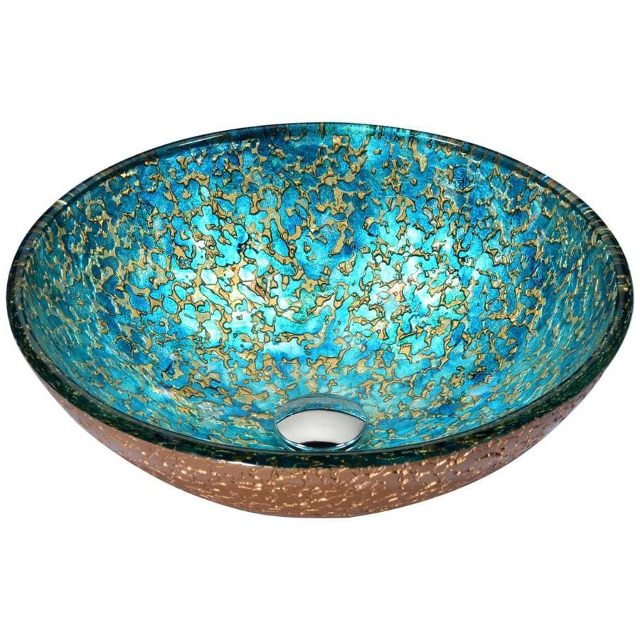 ANZZI Chrona Gold/Cyan Mix Tempered Glass Round Vessel Bathroom Sink with Faucet (Drain Included)