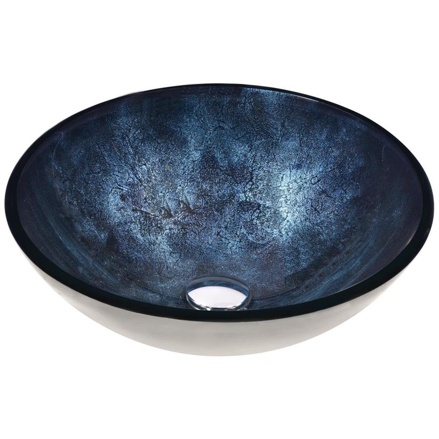 ANZZI Chrona Starlit Midnight Tempered Glass Round Vessel Bathroom Sink (Drain Included)