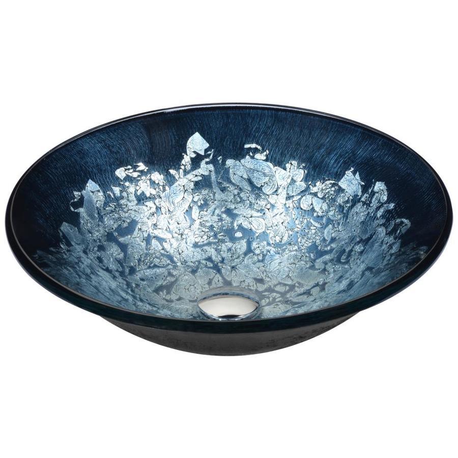 ANZZI Chrona Silver Burst Tempered Glass Round Vessel Bathroom Sink (Drain Included)