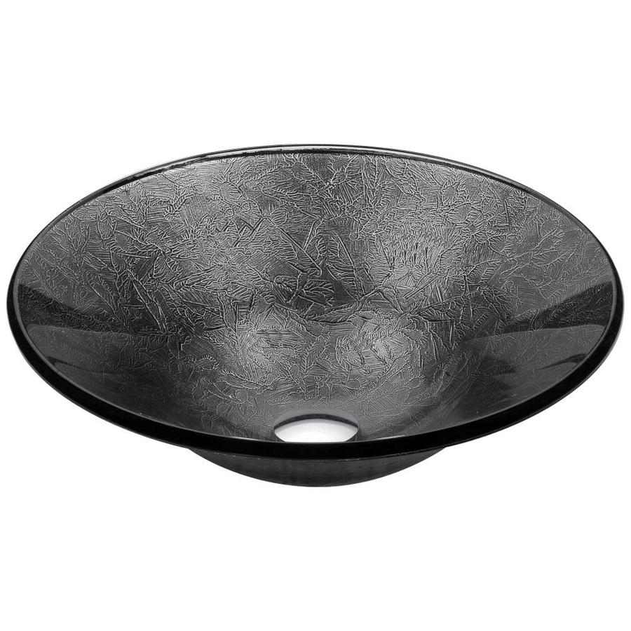 ANZZI Arc Arctic Sheer Tempered Glass Round Vessel Bathroom Sink (Drain Included)