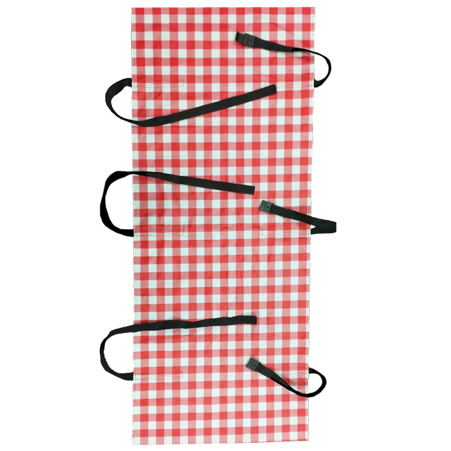 Wrap & Strap Outdoor Red and White Gingham Table Cover for 6-ft Rectangle Table