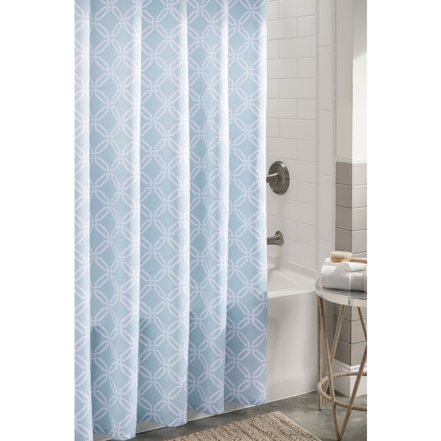 Shop Allen Roth Polyester Aqua Geometric Shower Curtain