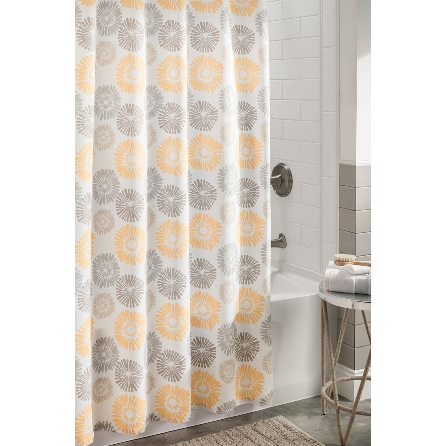 Shop allen + roth Polyester Multi Floral Shower Curtain 72-in x 72 ...