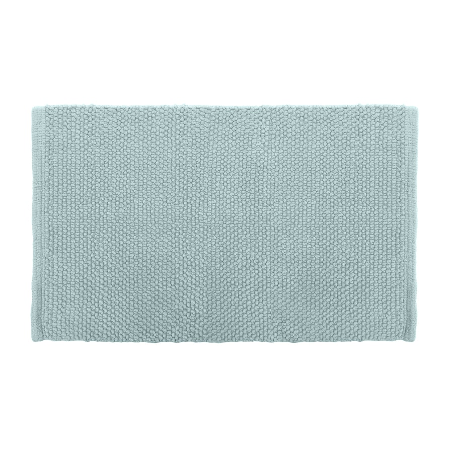 Shop Colordrift Popcorn Bath Rug 20 In X 30 In Aqua Cotton Bath Rug At