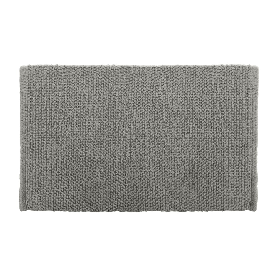 Colordrift Popcorn 20-in x 30-in Gray Cotton Bath Rug