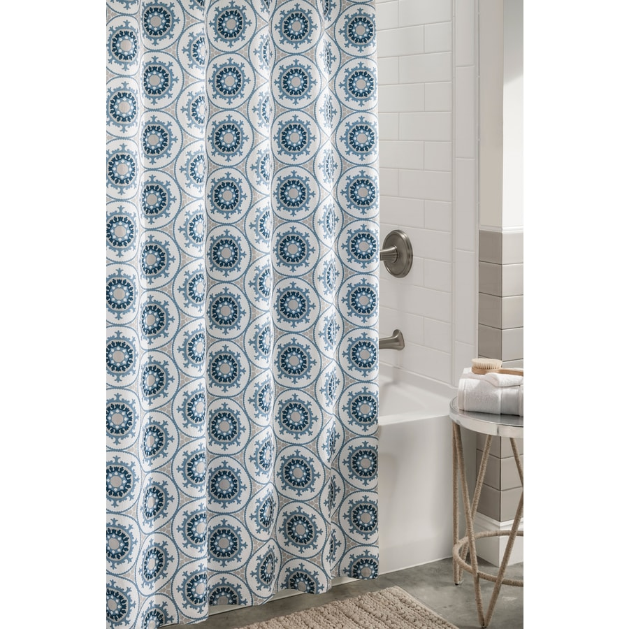 Allen Roth Polyester Blue Patterneded Shower Curtain 72 In X