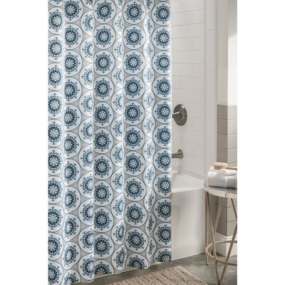 Blue Bathroom Shower Curtains.Polyester Blue Patterneded Shower Curtain 72 In X 72 In