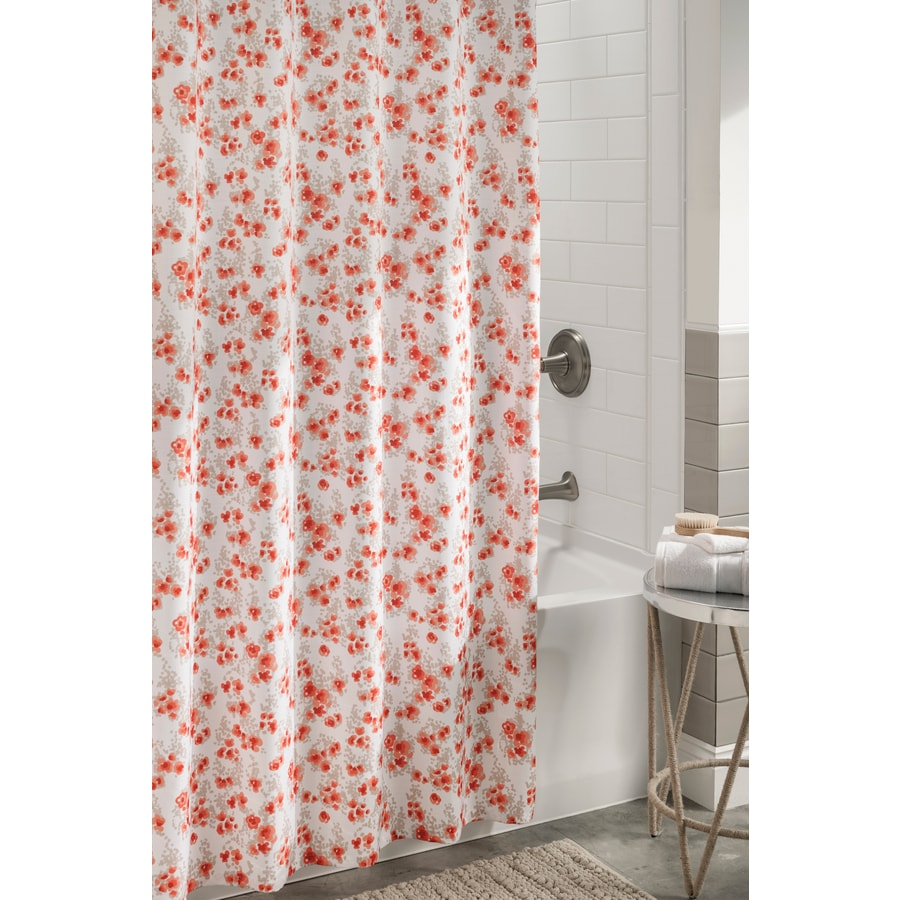 allen + roth Polyester Coral Floral Shower Curtain