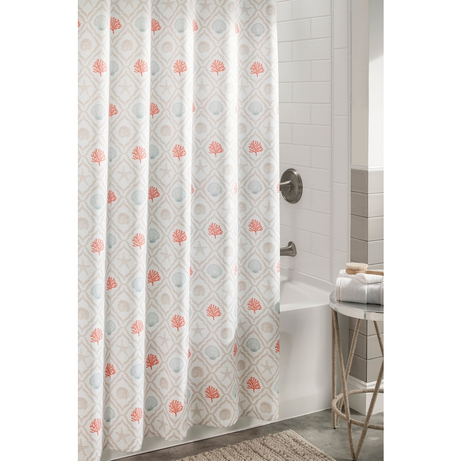 Allen Roth Polyester Coral Aqua Patterneded Shower Curtain 72 In X