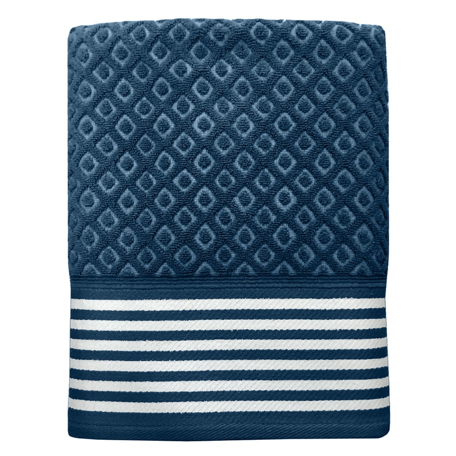 Colordrift Diamond Bathroom Towel Set 27-in x 52-in Blue Cotton Bath Towel