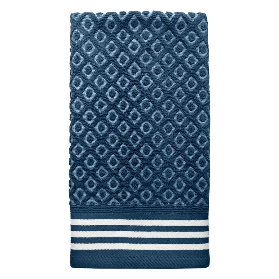 Colordrift Diamond 16.0-in x 26.0-in Blue Cotton Hand Towel