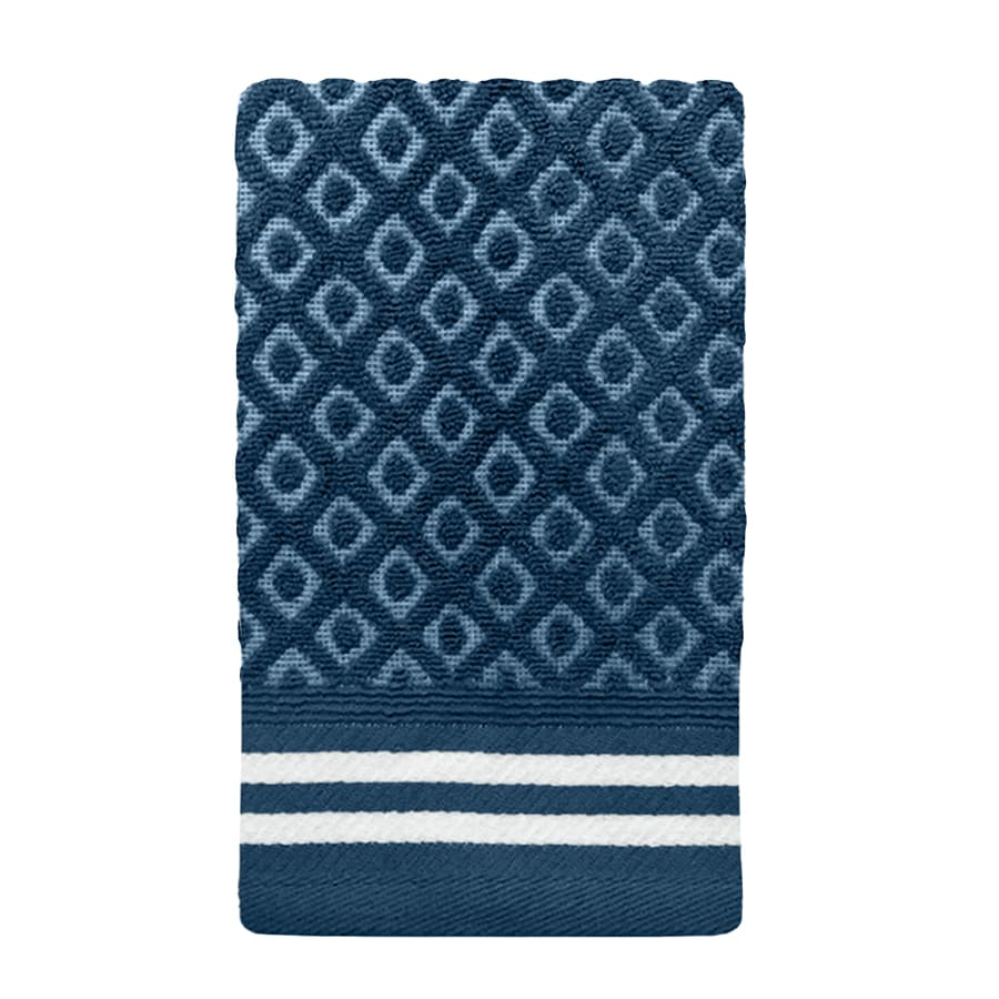 Colordrift Diamond 11-in x 18-in Blue Cotton Fingertip Towel