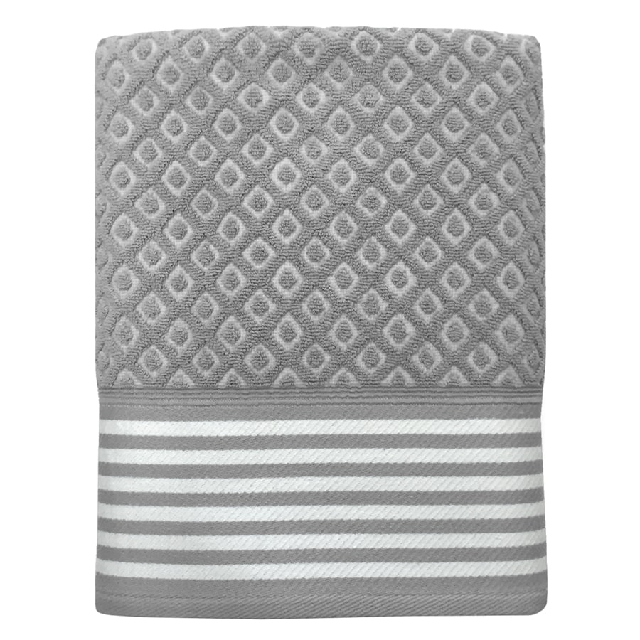 Colordrift Diamond Bathroom Towel Set 27-in x 52-in Gray Cotton Bath Towel