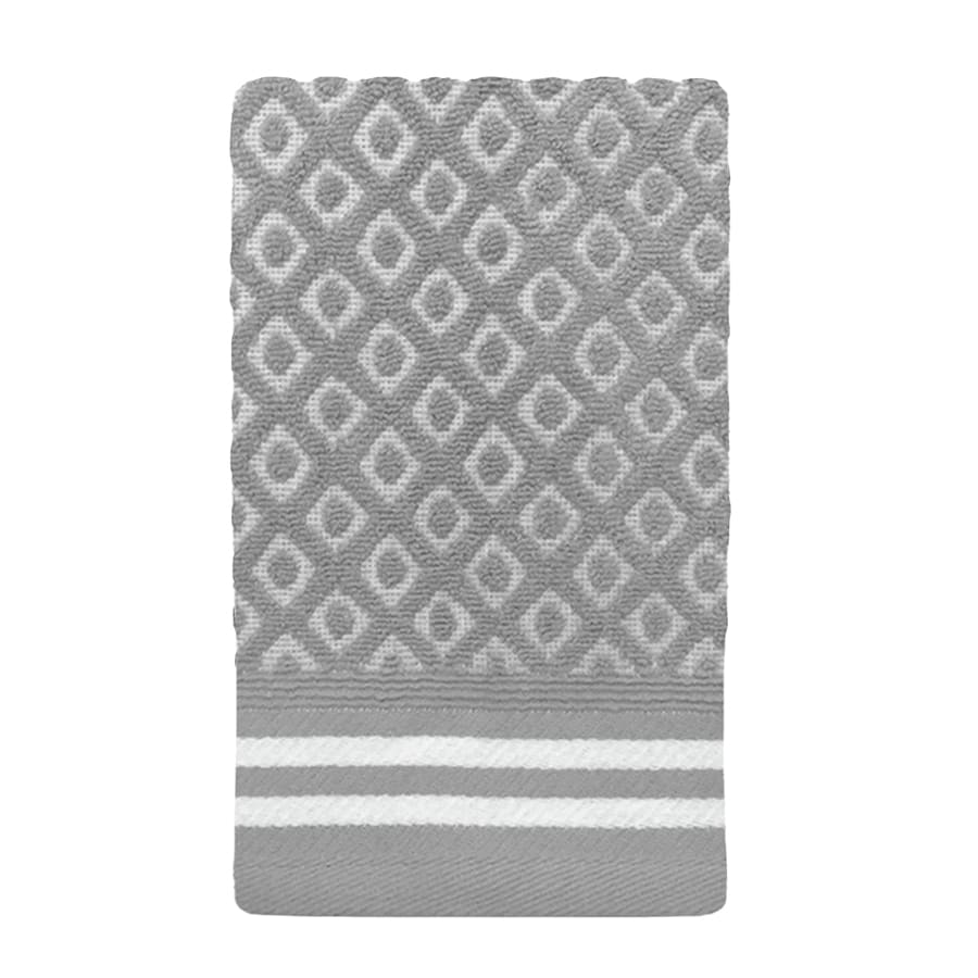 Colordrift Diamond 11.0-in x 18.0-in Gray Cotton Fingertip Towel