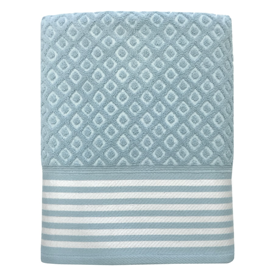 Colordrift Diamond 27-in x 52-in Aqua Cotton Bath Towel
