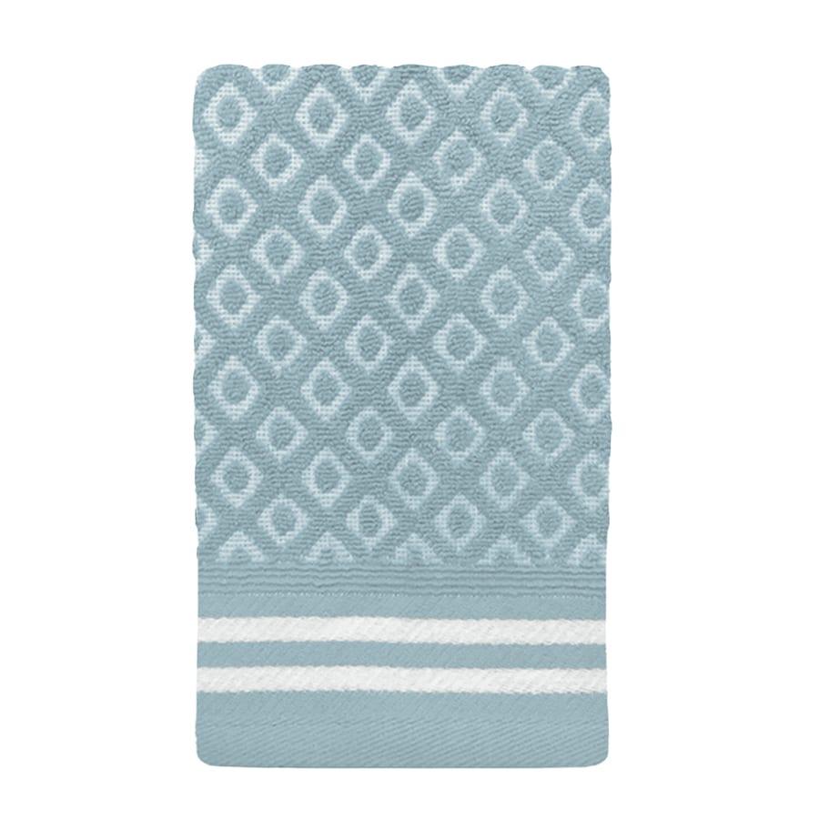 Colordrift Diamond 11-in x 18-in Aqua Cotton Fingertip Towel
