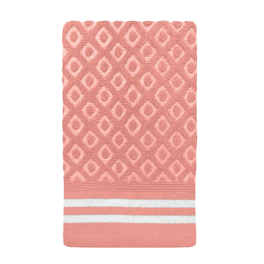 Colordrift Diamond 11.0-in x 18.0-in Coral Cotton Fingertip Towel