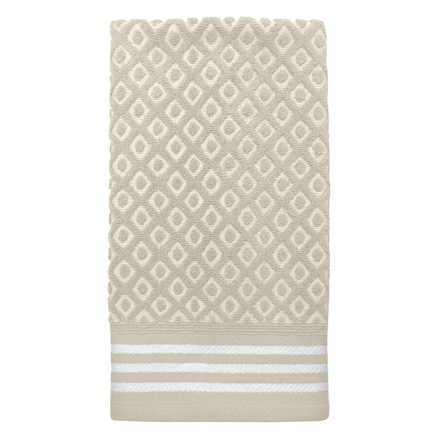 Colordrift Diamond 16-in x 26-in Natural Cotton Hand Towel