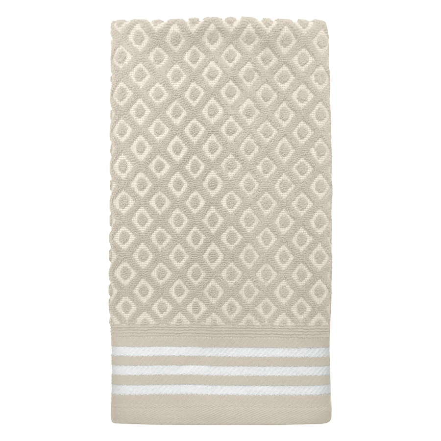 Colordrift Diamond Bathroom Towel Set 16-in x 26-in Natural Cotton Hand Towel