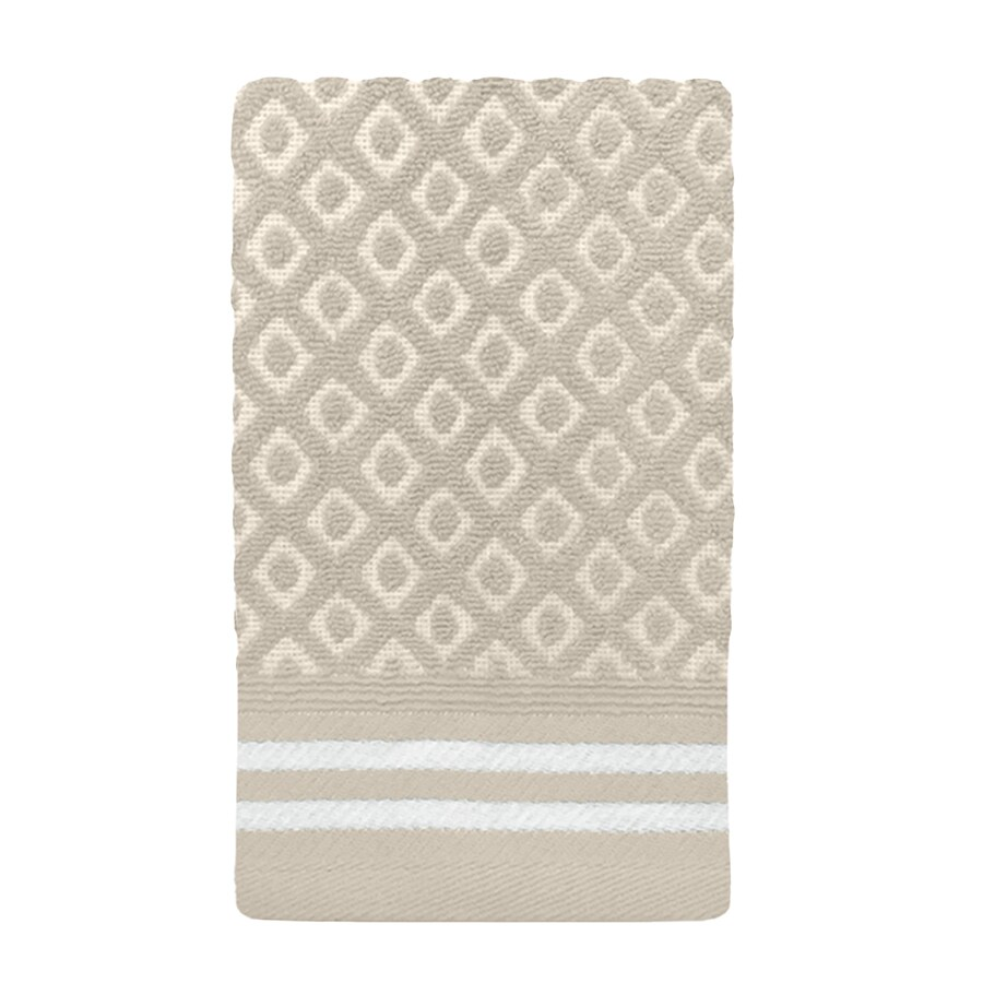 Colordrift Diamond 11.0-in x 18.0-in Natural Cotton Fingertip Towel