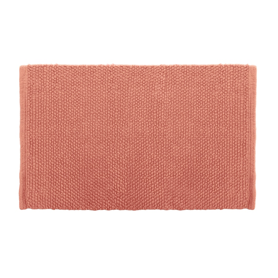 Colordrift Popcorn Bath Rug 20.0-in x 30.0-in Coral Cotton Bath Rug