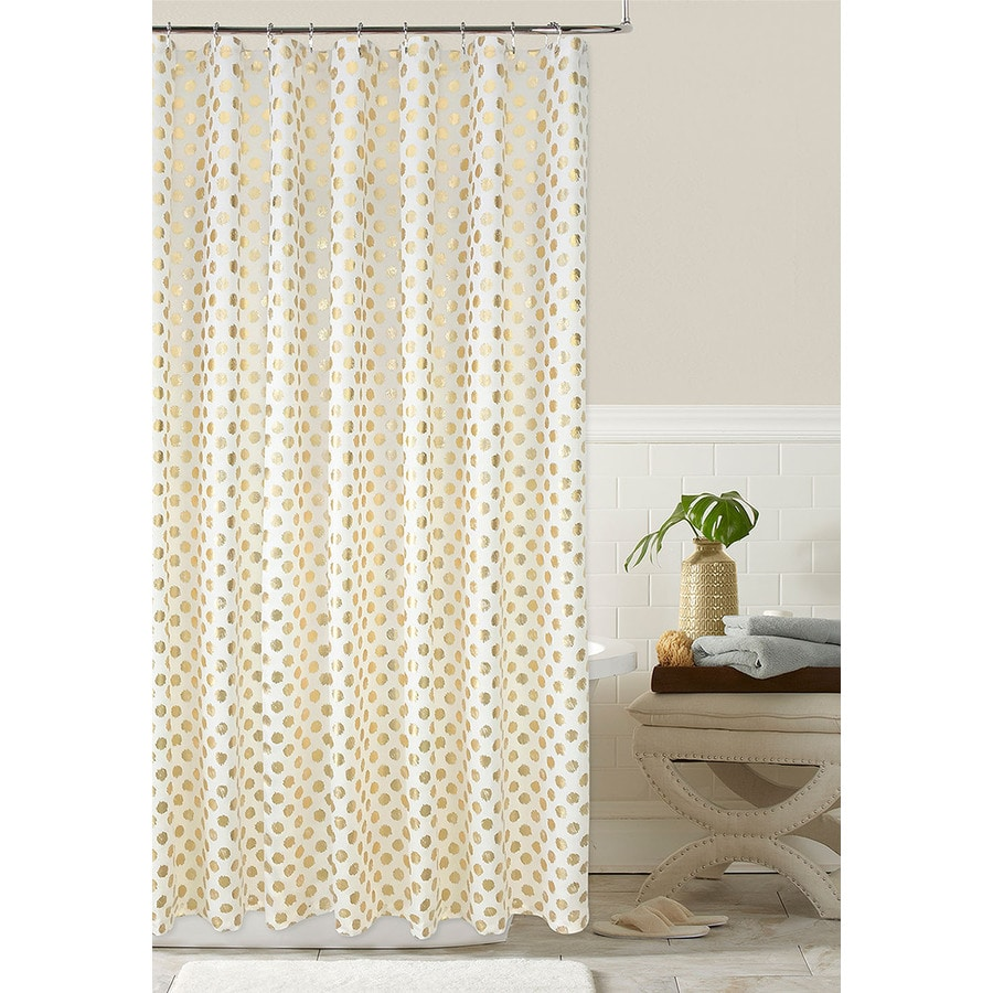 Shop Colordrift Polyester Gold Patterned Shower Curtain At