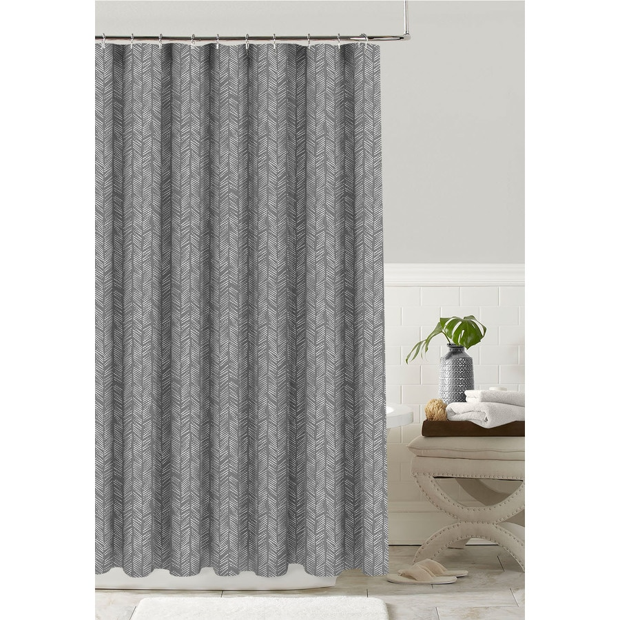Colordrift Polyester Silver Grey Patterneded Shower Curtain 70 In X 72