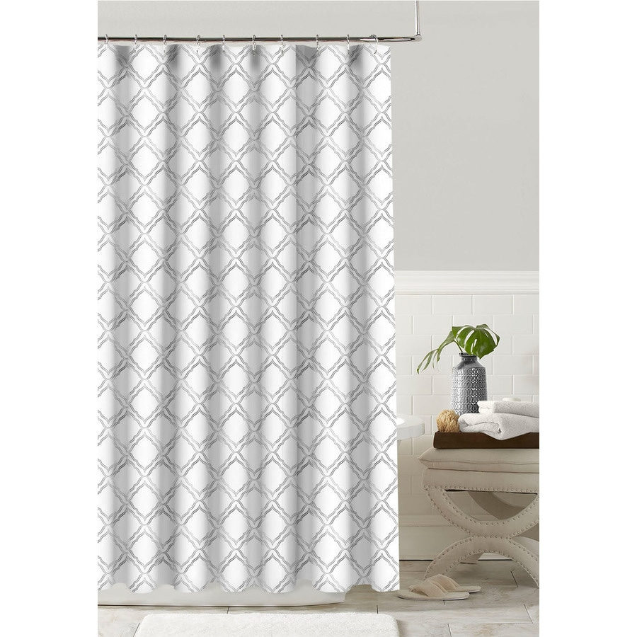 Colordrift Polyester Silver Patterned Shower Curtain