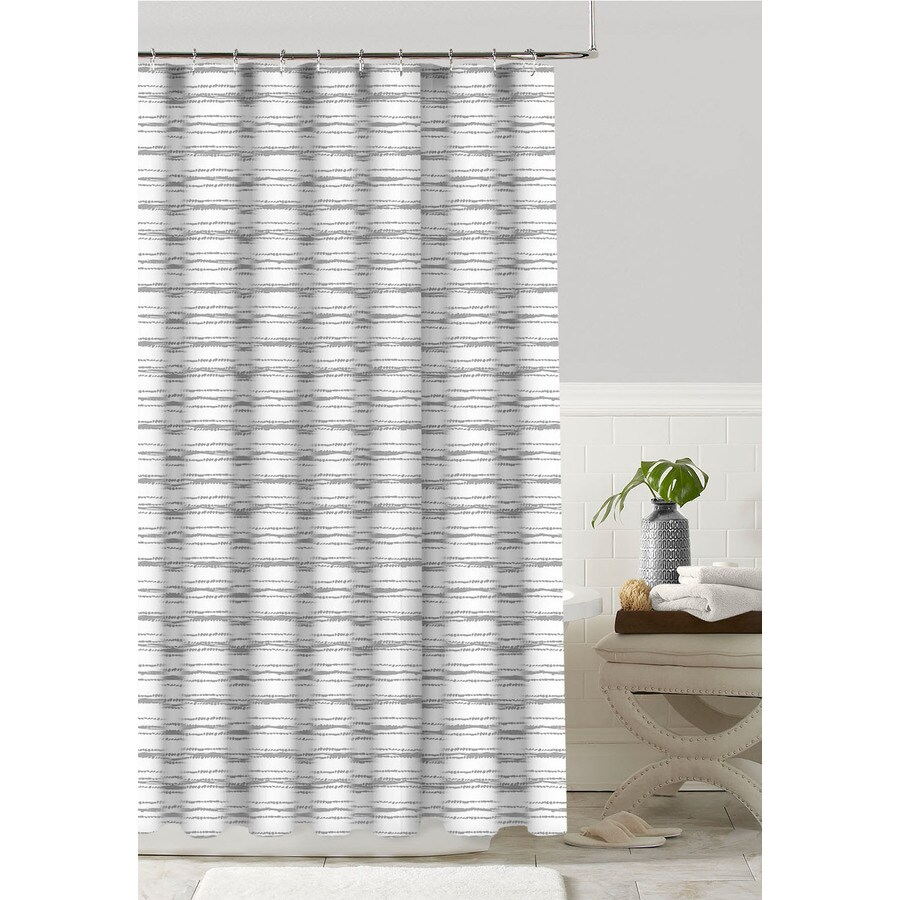 Colordrift Polyester Gray Patterned Shower Curtain